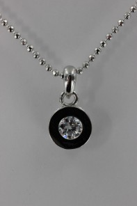 Circle drop CZ Pendant Necklace